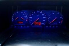 Óracsoport kék háttér, piros inverz LCD, piros világítós mutatók